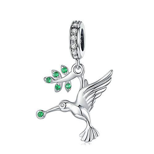 Vogel-Anhänger, Kolibri, 925er Sterlingsilber, Vogel-Anhänger, für Bettelarmbänder und Armreifen, Silberschmuck