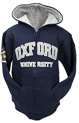 Oxford University OU129 Sudadera con capucha con cremallera para niños, color azul marino