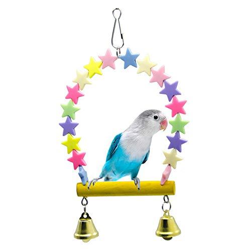 RONSHIN Huisdieren Regenboog Ster Swing Klokken Staande Stick Perch staaf voor Kleine Medium Papegaai Vogels Speelgoed