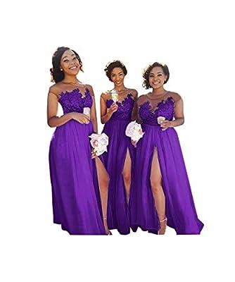 jieprom Women's Sheer Neck A Line Chiffon Bridesmaid Dress Lace Split Prom Dress Purple