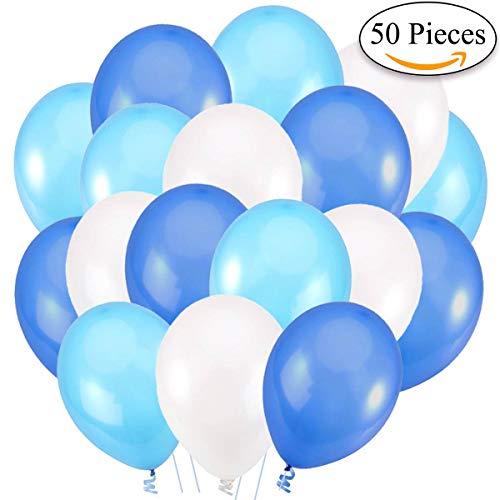 Jonami 50 Luftballons Blau Weiß Hellblau Ballon Premiumqualität 36 cm Partyballon Deko Babyblau Himmelblau Dunkelblau 3,2g. Dekoration fur Geburtstags, Baby Dusche Party, Baby Shower