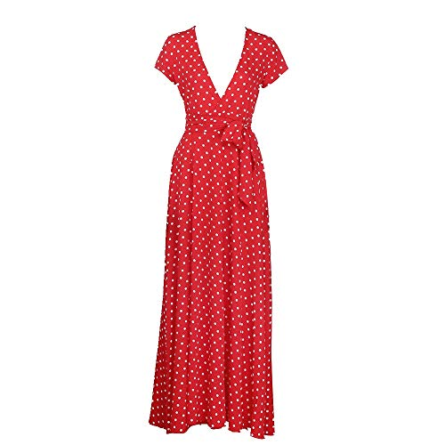 Keepfit Chiffon Polka Dot Dresses, Deep V Neck Casual Long Maxi Sundress (S, Red)