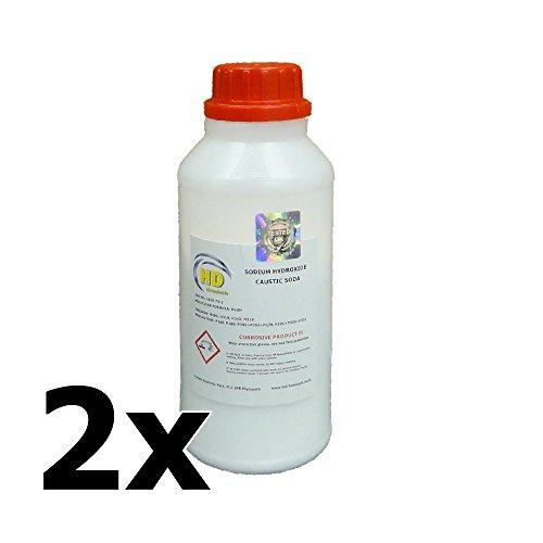 2x 500g Natronlauge (99%) Grade 'Pearl' Abflussreiniger, Seife, um Natriumhydroxid