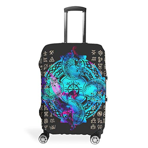 Travel Luggage Case Cover Protector – Viking Print 4 Sizes Suit Most Luggage Suitcases, White (White) - LIFOOST-XLXT