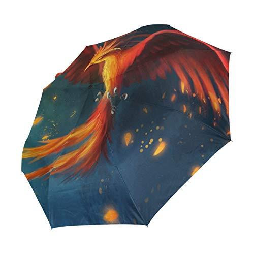 XiangHeFu Regenschirm, Motiv Vögel, Phönix, Feuerhimmel, automatisches Öffnen, 3 Falten, leicht, UV-Schutz