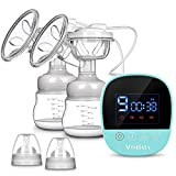 Electric Breast Pump - MOSFiATA Rechargeable Nursing Breastfeeding Pump with Massage Mode, LCD Smart Touch Screen, 3 Modes (9 Suction Levels Each) and Backflow Protector BPA Free