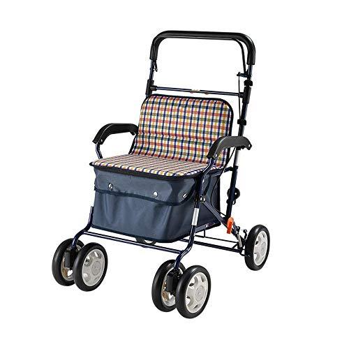 Y-L Ouderen gehandicapte Fold up Mobility Rollator Walker Lichtgewicht Medical Rolling Walker met Seat Mobility Aid voor Oude Man Winkelen, Rust, Stoel, een
