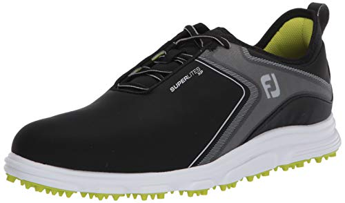 FootJoy Men's Superlites XP Golf Shoes, Black/Lime, 7 M US