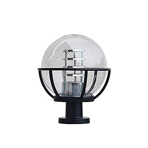 LSSB Round Ball Outdoor Rainproof Garden Lamp Post Lamp IP54 Waterproof Outdoor Garden Landscape Column Lamp E27 External Villa Balcony Fence Door Post Pillar Decoration Lighting Fixture