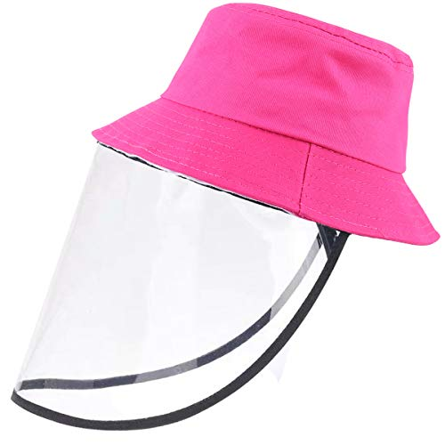 Jastore Kids Boy Girl Bucket Hat Sun Protection Hats Breathable Summer Windproof Hat (Rose, One Size)
