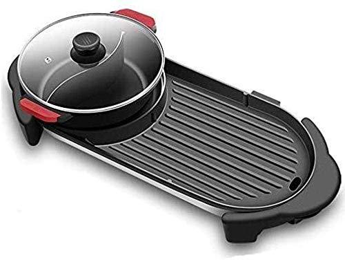 Elektrische Grill Household Rookvrije gemakkelijk schoon te maken vis film Two-in-one Multifunctionele Electric Hot Pot Barbecue Shabu Shabu-elektrische barbecue (Upgrade) QIANGQIANG