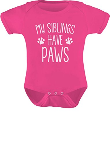 My Siblings Have Paws Funny Infant Baby Boy Girl Bodysuit 6M Wow Pink