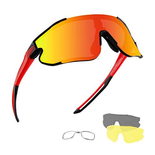 DUDUKING Sportbrille Fahrradbrille Polarisierte Sonnenbrille für Herren und Damen mit 3 Wechselobjektiven TR90 UV400 Schutz Windschutz Radsportbrille für Outdooraktivitäten Fischen Laufen Wandern
