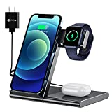 WATOE Wireless Charger 3 in 1 Qi Fast Charging Station,Compatible iPhone 12/SE/11/11 Pro/X/XS/XR/Xs Max/8 Plus,Charging Stand for AirPods Pro/2, Compatible Apple Watch Series 6/SE/5/4/3/2/1