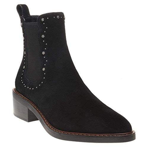 COACH Womens Bowery Suede Pointed Toe Ankle Fashion Boots Black