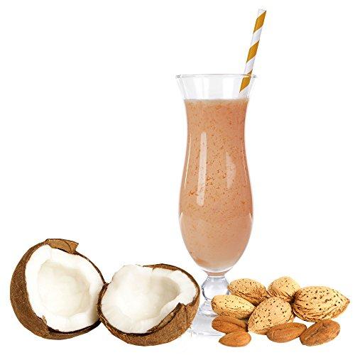 Kokos Mandel Geschmack Eiweißpulver Milch Proteinpulver Whey Protein Eiweiß L-Carnitin angereichert Eiweißkonzentrat für Proteinshakes Eiweißshakes Aspartamfrei (200 g)
