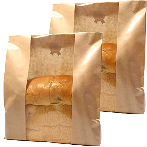 GM HOME 25 PCS Toast Paper Bag Kraft Bread Bag with Front Window Label Seal Sticker Packaging Paper Bakery Bag for Loaf Pastry Cookie Candy