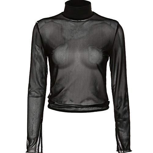HNKPWY Zomer Zwart T-shirt Vrouwen Shirt Rolkraag Pullover Lange mouwen Mini Shirt Vrouwen T-Shirt