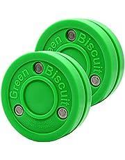 Green Biscuit Passer-2 Pack   Off-Ice Stickhandling & Passing Puck   El es ideal para hockey callejero