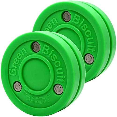 Green Biscuit 2 Pack 2 Passers| Off-Ice Stickhandling & Passing Puck | This Biscuit is Great for Street Hockey, Green, Smart, Better