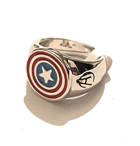 giulyscreations Anello Metallo Nichel Free Captain America Capitan America Scudo Avengers Logo Ispirato Supereroi Pop Comics Fantasy Steve Rogers Bucky Till The End of The Line (11)