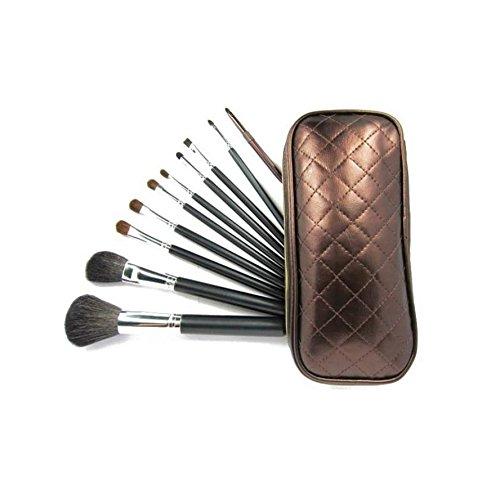 Set De 10 Maquillage Pinceaux - Poils De Chèvre Et De Poney, Virole D'Aluminium, Manche En Bois Naturel, Sac Similcuir by CASCACAVELLE