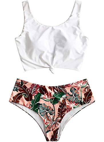 Yutdeng Conjuntos de Bikinis 2 Piezas Cintura Alta Trajes de Baño Push up Bikini Retro Tops y Brasileño Sexy Tanga Verano Color Liso Clásico diseño de Flores