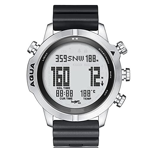 Smartwatch, Deportes Al Aire Libre para Hombres, Impermeable, Reloj Inteligente para Computadora De Buceo, Presión De Altitud, Brújula, Temperatura, Reloj Electrónico,Blanco