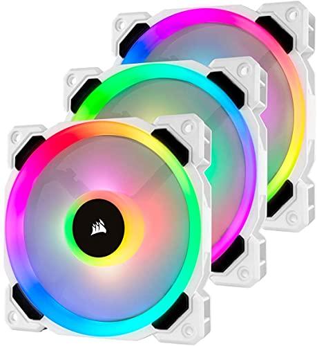 Corsair LL120, LL Series, 120mm Dual Light Loop RGB LED, PWM, à flux d'air élevé Ventilateur (Pack Triple avec module Lighting Node) - Blanc