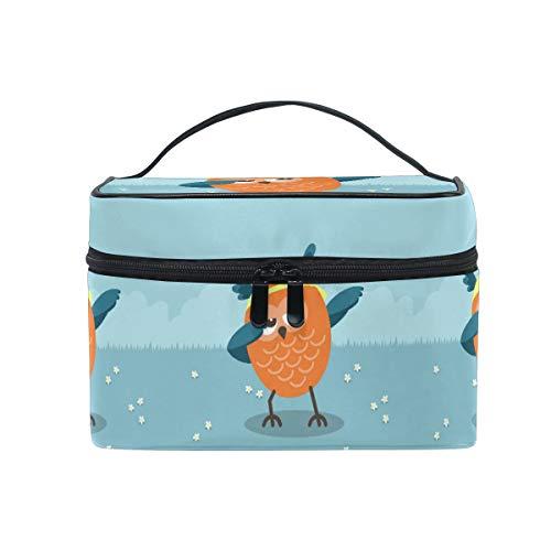 Chouette Oiseau Bleu Trousse Sac de Maquillage Toilette Cas Voyage Sac Organisateur Cosmétique Boîtes pour Les Femmes Filles