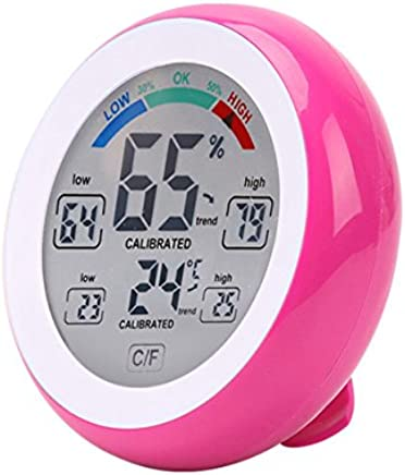 デジタル温度計、屋内および屋外の温度検出のワインセラーのための高精度の多機能の調節可能な温度 - 気象観測所,Pink
