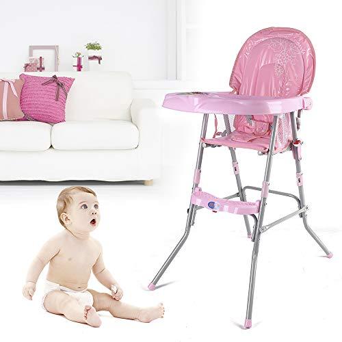 Flybear 3 in1 Baby Hochstuhl, Klappbar, mit Sicherheitsgurt,geeignet für Babys von 6 Monaten bis 3 Jahren (pink)