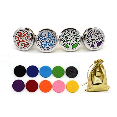 Amazon.com: BEAVO 4PCS Car Aromatherapy Essential Oil Diffuser (30mm) Stainless Steel Locket Air Freshener Vent Clip - Cloud, Tree of Life Diffuser Lockets: Beauty
