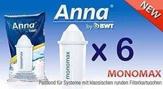 6 Anna monomax lot de 20 cartouches filtrantes convenant aux carafes filtrantes brita classic pearlco