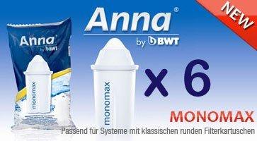 6 Anna Monomax Wasserfilter Kartuschen passend auch für Brita Classic, Pearlco