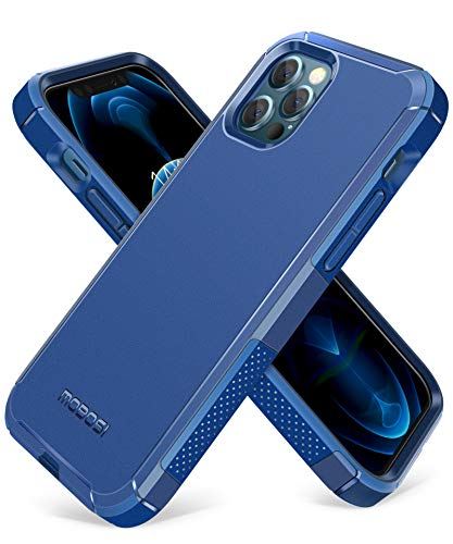 MOBOSI Excursion Series Compatible with iPhone 12 Case/iPhone 12 Pro Case, Dual Layer Slim Rubber Cover with Air Bumpers, Military Grade Drop Protection Case (6.1 Inch 2020 Release)- Blue
