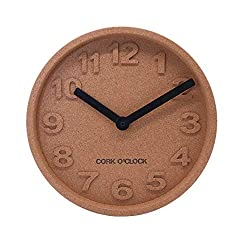 Sustainable Cork Wood Clock, Quality Scandinavian Design, Non-Ticking Quartz Movement, Decorative Wall Clock for Living Room, Kitchen, Bedroom, Nursery Room