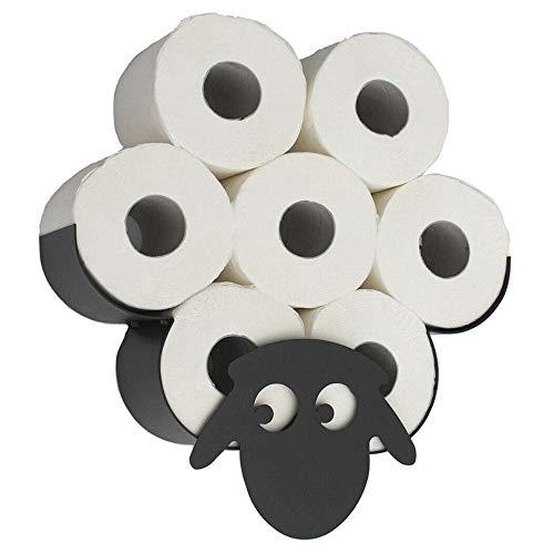 Portarrollos de papel higiénico de oveja, oveja, oveja, color negro, de metal, color negro