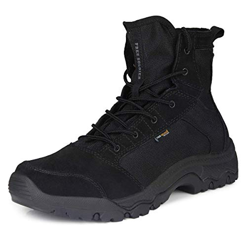 FREE SOLDIER Men's Work Boots 6 inch Lightweight Breathable Military Tactical Desert Boots for Hiking(Black 10 US)