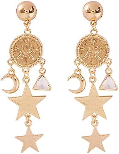 NC110 Pendientes Dobles de Estrella de Cinco Puntas Pendientes Colgantes de geometría de Luna exagerada Pendientes de Mujer 8.5 * 2cm Oro