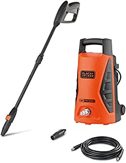 Black+Decker 1300W 100 Bar Electric Pressure Washer for Home, Garden & Cars, Orange/Black - PW1370TD-B5, 2 Years Warranty