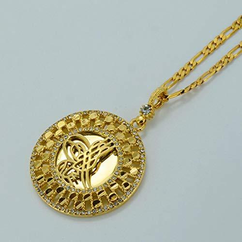 DSHT Collar De Moneda De Metal Turco Pendientes Árabes Dorados Diamantes De Imitación Joyería De Mujer Turca # 04012A