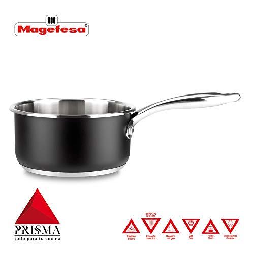 CAZO MAGEFESA Prisma – CAZO Fabricado en Acero Inoxidable 18/10, Compatible con Todo Tipo de Cocina, INDUCCIÓN. Fácil Limpieza. Apto para lavavajillas y Horno. (CAZO, 16_cm)