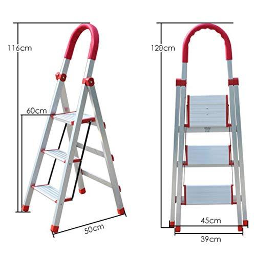 LRZLZY 4-Stufenleiter, tragbare Falten Aluminium Haushaltsstehleitern, Heavy Duty Hocker, Anti Rutsch-Matte mit Gummihandgriff (Size : 3-Step)