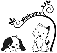 LGSMRP 車のステッカー、ステッカー15cm * 14.1cmかわいい犬のようこそビニールカーアートステッカーデカール黒/シルバーカーステッカー、ステッカー(カラー名:銀) LGSMRP (Size : Black)
