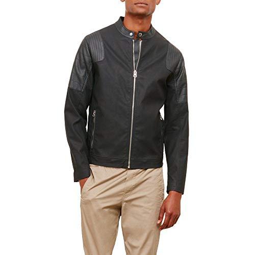 Reaction Kenneth Cole Moto Mock Pleather Jacket Large Black