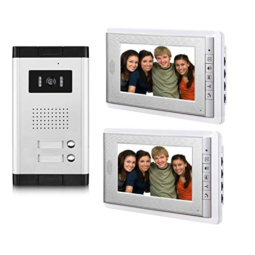 AMOCAM 2 Units Apartment Video Intercom System,Video Door Phone Kit, 1 pcs Night Vision Camera, 2 pcs 7 Inches Monitor Wired Video Doorbell System, Support Monitoring, Unlock, Dual way intercom