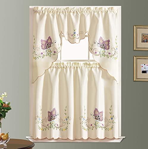 Dancing Butterfly. 3pcs Multi-Color Embroidery Kitchen Cafe Curtain Set with cutworks. Window Treatment Set for Small Windows. (Lavender)