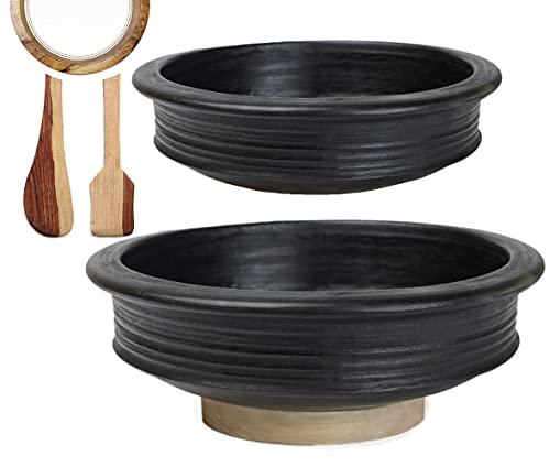 Craftsman India Online Pre-Seasoned Earthen/Clay-Handi/Kadai/Pot Combo 2 & 4 Liter