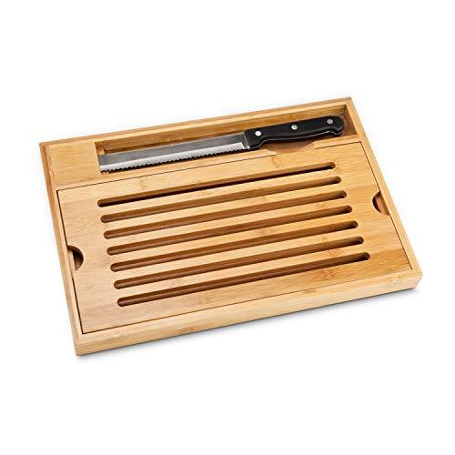ROMINOX Geschenkartikel Brotschneide-Set // Krümel – 2-teiliges Set aus Brotmesser und Bambusbrett mit praktischem Krümelfach zum Herausnehmen; Maße: ca. 38 x 25 x 3.5 cm